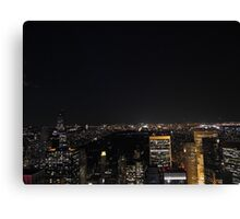 Night over Central Park and Uptown Manhattan Canvas Print