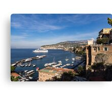 Postcard from Sorrento, Italy - the Harbor, the Boats, and the Famous Clifftop Hotels Canvas Print