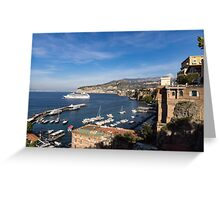 Postcard from Sorrento, Italy - the Harbor, the Boats, and the Famous Clifftop Hotels Greeting Card
