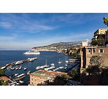 Postcard from Sorrento, Italy - the Harbor, the Boats, and the Famous Clifftop Hotels Photographic Print
