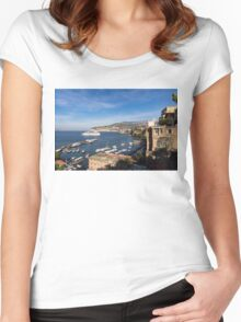 Postcard from Sorrento, Italy - the Harbor, the Boats, and the Famous Clifftop Hotels Women's Fitted Scoop T-Shirt