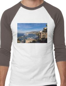Postcard from Sorrento, Italy - the Harbor, the Boats, and the Famous Clifftop Hotels Men's Baseball ¾ T-Shirt