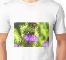 bee on thistle with insects Unisex T-Shirt