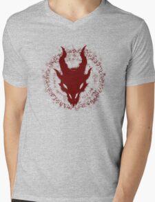 Dragon Skull (Red) Mens V-Neck T-Shirt