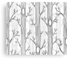 Seamless pattern with trees, grayscale Canvas Print