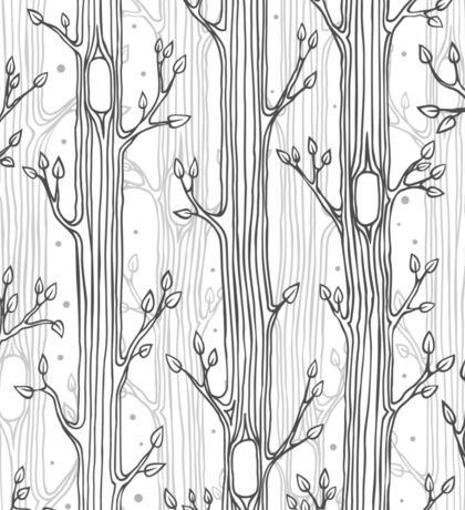 Seamless pattern with trees, grayscale Sticker