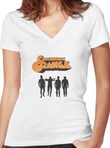 orange clockwork Women's Fitted V-Neck T-Shirt