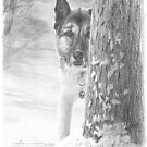 dog behind a winter tree drawing by Mike Theuer
