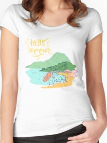 At the beach Women's Fitted Scoop T-Shirt