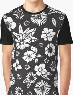 Black and White Hand Drawn Flowers and Foliage Graphic T-Shirt