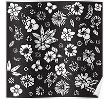Black and White Hand Drawn Flowers and Foliage Poster