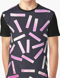 Pink and Cloudy White Watercolor Confetti on Black Graphic T-Shirt