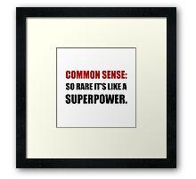 Common Sense Superpower Framed Print