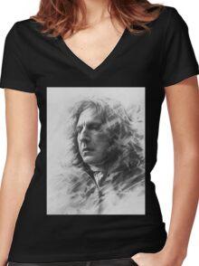 SNAPE ALAN RICKMAN Women's Fitted V-Neck T-Shirt
