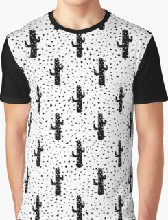 Black and White Modern Cactus and Triangle Geo Graphic T-Shirt