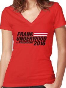 Frank Underwood - Black Women's Fitted V-Neck T-Shirt