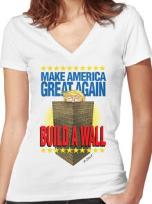 TRUMP's WALL Women's Fitted V-Neck T-Shirt