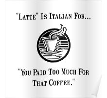 Latte Italian Coffee Poster
