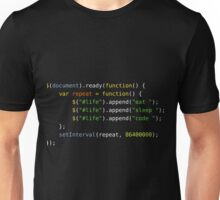 Eat, Sleep, Code, Repeat (jQuery version) Unisex T-Shirt