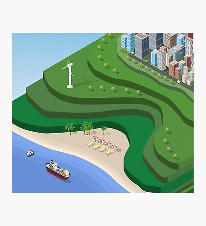 Beach Sea isometric  Photographic Print