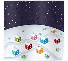 Isometric City Christmas Poster