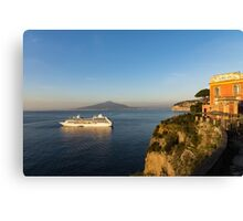 Sunset Postcard from Sorrento - the Sea, the Cliffs and Vesuvius Volcano Behind the Criuse Ship Canvas Print
