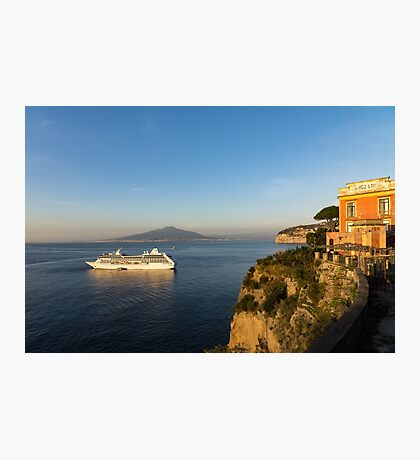 Sunset Postcard from Sorrento - the Sea, the Cliffs and Vesuvius Volcano Behind the Criuse Ship Photographic Print