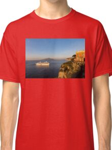 Sunset Postcard from Sorrento - the Sea, the Cliffs and Vesuvius Volcano Behind the Criuse Ship Classic T-Shirt