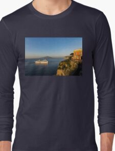 Sunset Postcard from Sorrento - the Sea, the Cliffs and Vesuvius Volcano Behind the Criuse Ship Long Sleeve T-Shirt