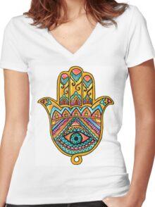 Rainbow Hamsa Hand Women's Fitted V-Neck T-Shirt
