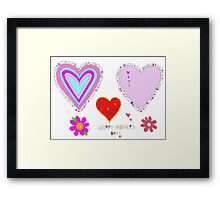 Happy Mother's Day Hearts Flowers Lettering Framed Print