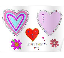 Happy Mother's Day Hearts Flowers Lettering Poster
