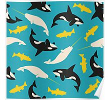 Orcas and Swordfish Poster