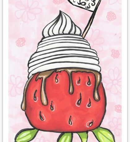 whipped cream, chocolate dipped starwberry Sticker