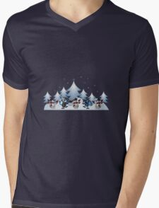 Snowmen & Reindeer Mens V-Neck T-Shirt