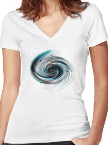 Abstract Paint Swirl Women's Fitted V-Neck T-Shirt