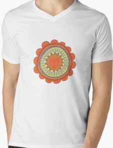 big red flowery shape Mens V-Neck T-Shirt