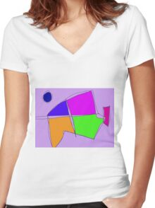 Double Lines Light Purple Women's Fitted V-Neck T-Shirt