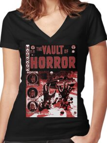 Vintage Golden Age Vault of Horror comic book cover RETRO Women's Fitted V-Neck T-Shirt