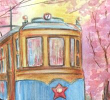 Hand drawn watercolor illustration of old tram Sticker