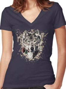 Wolf with Rose, Love Symbol, Wolves, Nature, Native, Splash,  Women's Fitted V-Neck T-Shirt