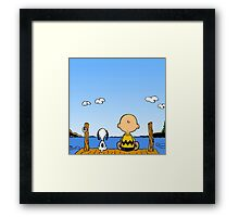 Snoopy And Charlie Brown Graphic T-Shirts Framed Print