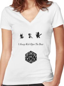 i always kick open the door Women's Fitted V-Neck T-Shirt