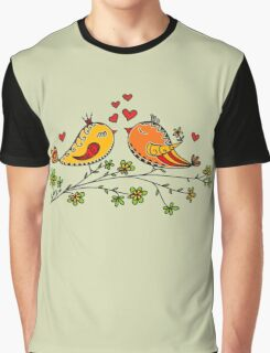 LOVE BIRDS, VALENTINE`S DAY, HEARTS, COLOR Graphic T-Shirt