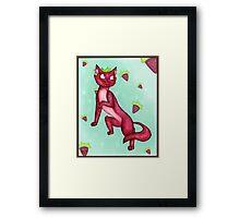 Strawberry Cat Framed Print
