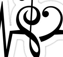 MUSIC HEART PULSE, Love, Music, Bass Clef, Treble Clef, Classic, Dance, Electro Sticker
