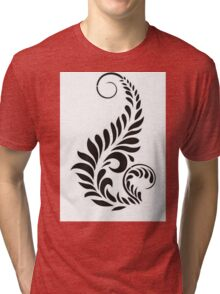 Black And White Floral Design Tri-blend T-Shirt