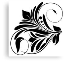 Black And White Floral Design Canvas Print