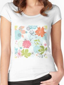 Colorful Flower Floral Design Pattern Women's Fitted Scoop T-Shirt
