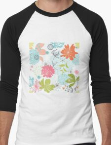 Colorful Flower Floral Design Pattern Men's Baseball ¾ T-Shirt